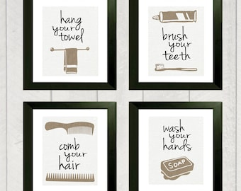 Bathroom Art Print - Set of 4