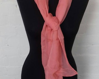 Vintage sheer pinky peach scarf with imperfections
