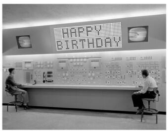 Birthday Card, Retro Computer, Birthday Cards, black and white, Scifi art, Retro Card, 1950s, Birthday, alternate histories, geekery
