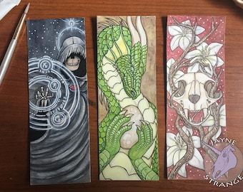 Watercolor Bookmarks - Original Art - Painting, gift, reading, bookmark, skull, flowers, dragon, fantasy, skull, mage, rune, witchy,painting