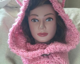 Cozy Hat with Neck Warmer in pink Hand Crocheted