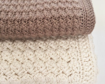 Crochet Baby Blanket Pattern - Chunky Crochet Baby Blanket - Bulky Yarn - Chunky Throw Pattern, Afghan - Pattern by Deborah O'Leary Patterns