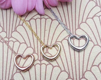 """Fine 9ct Gold Floating Heart Necklace in Yellow, White or Rose 16"""" 18"""" 20"""""""