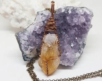 Wire Wrapped Jewelry Healing Crystal Jewelry CITRINE Point Crystal Handmade Jewelry The Stone Fairy Jewelry Wicca Bohemian Jewelry CT310