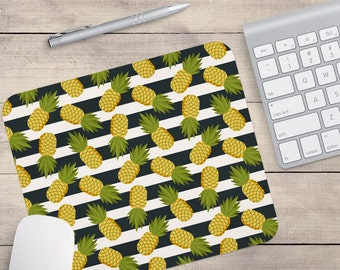 Striped Pineapple Mouse Pad, Tropical Mouse Pad, Pattern Mouse Pad, Hawaii Mouse Pad (0043)