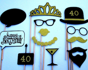 40th Birthday Party Photo Booth Props in Black and Gold Glitter Paper!
