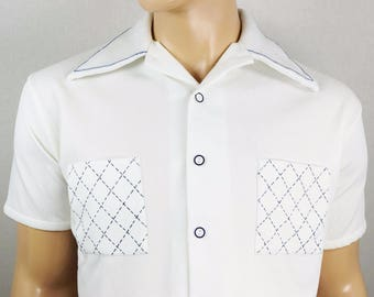Vintage 1960's Men's NATIONAL SHIRT SHOP ReTro Mod White Blue Detailed AtOmiC ErA HiPsTeR Size L