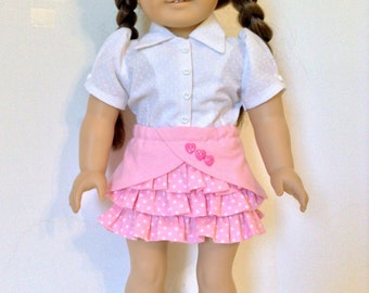 18 Inch Doll, White Blouse and Pink Ruffle Skirt, Spring or Summer Set