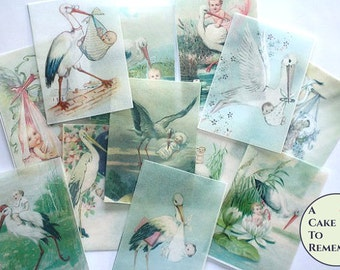 12 Baby Shower wafer paper cookie images, vintage stork and baby edible wafer paper prints for cookie decorating. Printed wafer paper