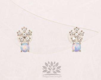 Plaqué de Rhodium E315-R-BU / / cube fleur avec boucle d'oreille de poteau d'argent 3mm bleu opale, 1paire