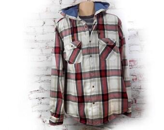 Shirt Button Up Men -men's plaid shirt -long sleeve shirt, men's button down shirt ,retro plaid shirt - Men's summer shirt  - size X L  # 3
