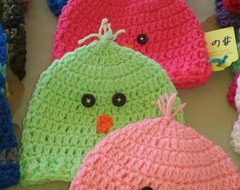 Crochet baby chick hats coral pink mint green blue