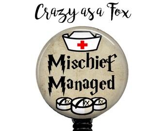 Nurse Mischief Managed Retractable Badge Holder, Harry Potter inspired Badge Reel, Lanyard, Stethoscope ID Tag, Nurse, Student, CNA Gift