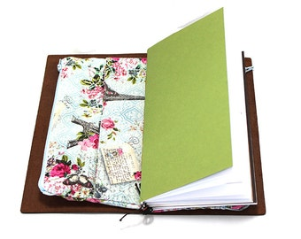 Zippered Insert for Midori Travelers Journal Notebook, Standard Size, Personal Size, Passport Size, Micro Size - Paris and Roses