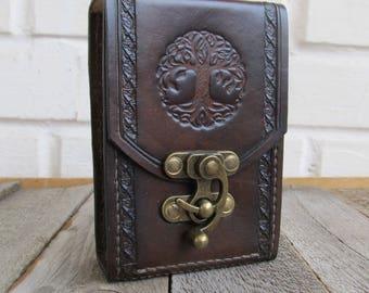 Tree of Life Tarot Leather Brown Deck box Tarot bag Original Rider Waite Tarot leather case Tarot Card holder Leather bag Tarot