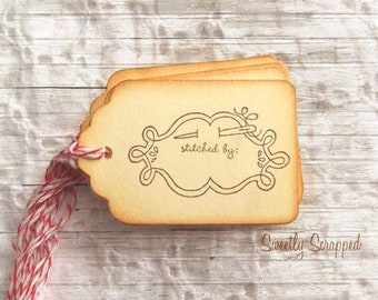 Stitched By, Handmade By Gift Tags, Vintage inspired with Red and White Baker's twine