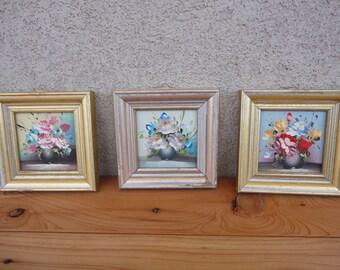 Three Miniature Floral Paintings