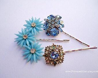 Vintage earring hair pin - Wedding light sky blue floral ear climber sparkly rhinestone bridal jeweled embellish decorative hair accessories