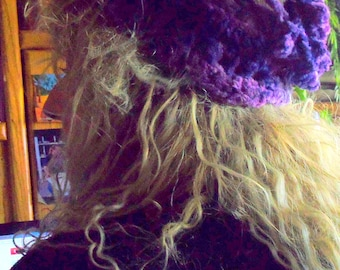 Variegated Purples Soft Chenille Hat For The Gypsy In You...