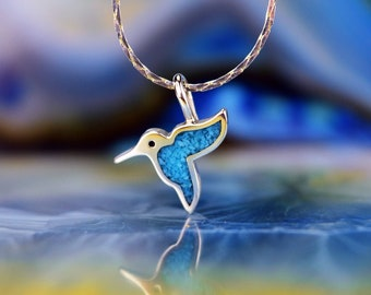 Sterling silver small Hummingbird in flight pendant inlaid with Turquoise