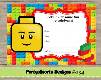 Building bricks backdrop banner birthday party printable diy fill in yourself lego birthday party invites solutioingenieria Choice Image