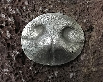 Handmade Dog Nose Print made from Solid Silver - from your Dog's Nose