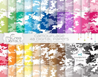 Camouflage rainbow paper pack - Cameo rainbow paper pack - 48 digital papers - INSTANT DOWNLOAD