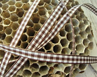 3 Yards - Brown and White Gingham Check Ribbon
