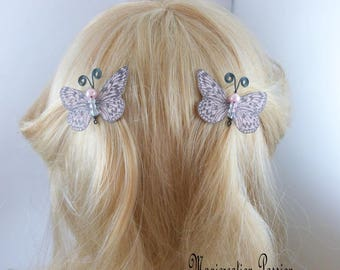 Butterfly clips anti-slip silk rose clear body beads and black metal antennas, Ombre, spring - Apolline - made in France