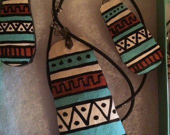 Native American geometric gourd necklace and earring set