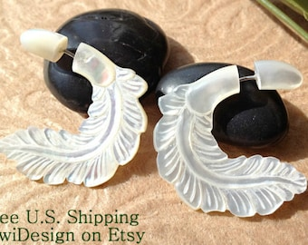 "Fake Gauge Earrings, ""Caesar"" Mother of Pearl/Shell, Hand Carved, Naturally Organic, Tribal"