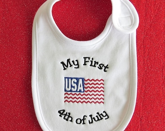 My First 4th of July Embroidered White Baby Bib- Custom Orders Welcome....