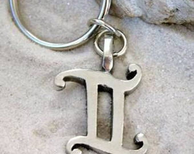 "Featured listing image: Pewter Gemini ""The Twins"" Zodiac Astrology Sun Sign of May June Keychain Key Ring (27E)"