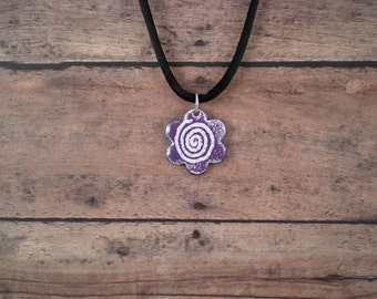 Purple Flower whimsical Enamel Pendant