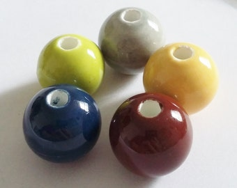 5pcs Assorted Ceramic Beads - Large Round Beads - Focal Beads - 16-18mm - Green Blue Oxblood Grey Yellow - Jewelry Supplies - B29899