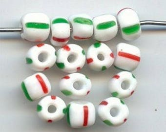 50 Vintage Glass Candy Cane (Red Green White Stripe) 7mm. Tire Beads 1770