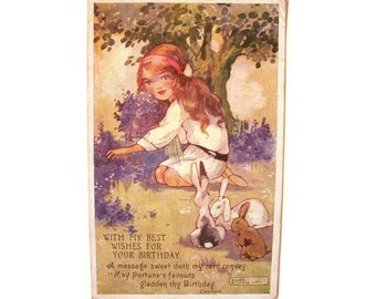 Vintage Postcard Agnes Richardson 1920s British Happy Birthday Greeting Card Little Girl Bunny Rabbits Flowers Best Wishes Poem Cute Rare