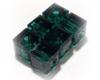 Swarovski Crystal Beads 5601 EMERALD Faceted Cube Elements Bead - 4mm & 6mm Available