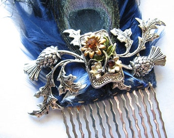 Sunflower wedding   silver hair comb   fascinator   flower headpiece   something blue   geek wedding