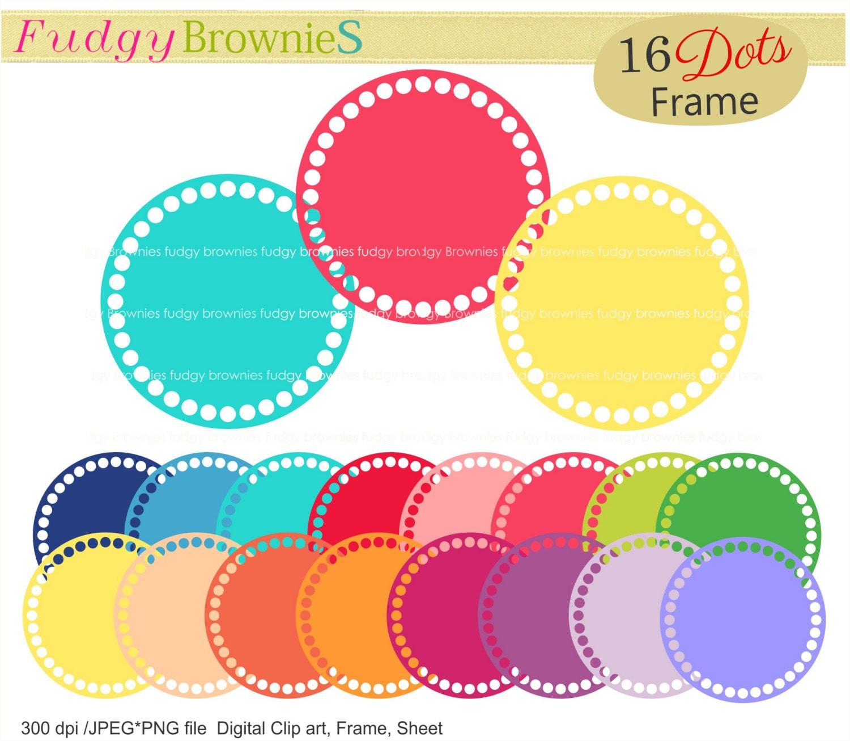 ON SALE,dots circle frames clipart ,color circle frames clip art ...