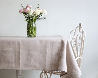 Natural linen tablecloth - Gray linen Wedding tablecloth - Easter table top