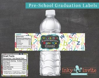 Pre-School Graduation WATER BOTTLE labels Instant Download | Graduation Party, Printable | Water Bottle wraps Look Out Kindergarten