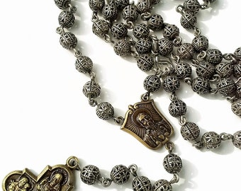 Rosary Necklace Mens Beaded Necklaces Silver Cross Necklace Catholic Rosaries for Women