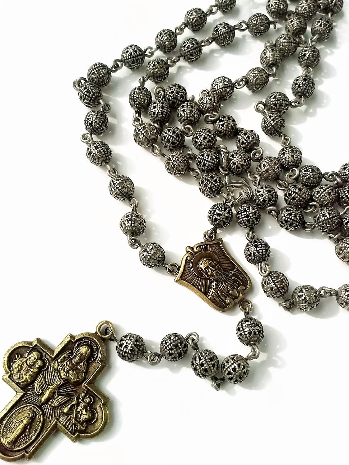prayer silver beads plated traditional products steel necklace img decade catholic tone five gold stainless rosary