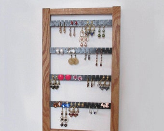 Earring Holder,  Holds 50 pair  , Jewelry Organizer,  Earring Storage, Jewelry Display, Oak Jewelry Storage, Oak Display