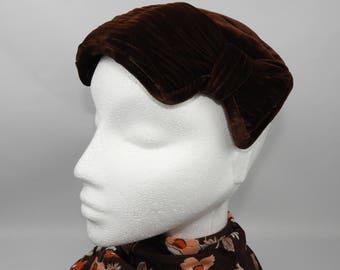 1940's 1950's Brown Velvet Jacoll Hat