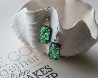 Drop Green Dichroic Fused Glass Earrings Dangle Earrings, Dichroic, 0151, GetGlassy