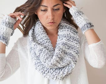 BRISTOL - Set of Infinity Cowl Scarf Neckwarmer & Fingerless Gloves - in Marble  - Free US and EU Shipping