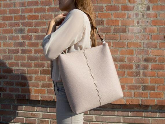 Large felt SHOULDER BAG with leather strap / tote bag / felt tote / felt bag / wool felt / made in Italy