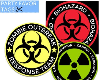 Zombie Tags - Zombie Favor Tags, Zombie Party Favor Tags, Zombie Decorations, Zombie Party Printables, Halloween Tags